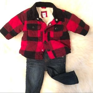 Baby Gap Plaid Jacket & Straight Jersey Lined Jean